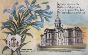 CHEYENNE, Wyoming, PU-1910; State Capitol, Fringed Gentian Wyoming State Flower