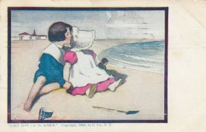 AS Last Day of Summer PU-1908; Bonnet Girl sitting with boy on the beach, doll
