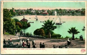 Los Angeles, California Postcard Winter Day in West Lake Park Detroit Pub 1914