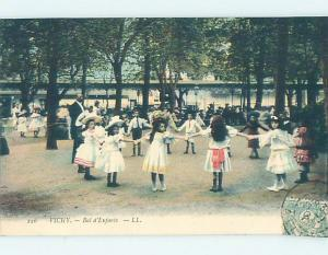 Divided-Back GIRLS PLAY IN SCHOOLYARD Vichy France hn6302