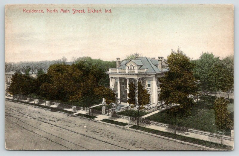 Elkhart Indiana~North Main Street~2 Story Colonial Pillar Mansion~1910 Handcolor
