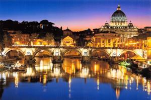 Postcard St. Peter's Basilica Rome at Night Ponte Sant'Angelo & River Tiber 48A