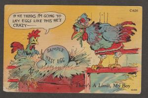 Chickens Comic Postcard Humor Vtg Risque There's A Limit My Boy