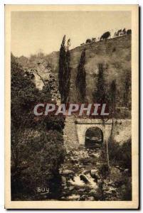 Old Postcard Aubazine Correze La Vallee du Coyroux and the ruins of the Abbey