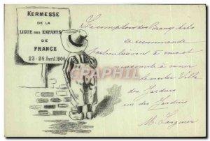 Old Postcard Kermesse league for children France 1904