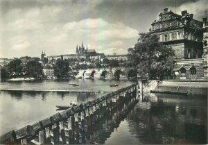 Postcard CZECH REPUBLIC Prague praha praga charles bridge castle palace river