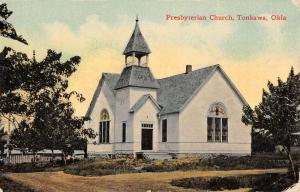 Tonkawa Oklahoma Presbyterian Church Street View Antique Postcard K39027