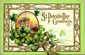 VTG Postcard St Patrick's Day Greeting 1912 Almont Michigan Detroit Embossed  71