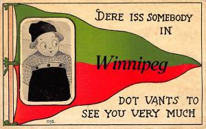 Somebody in Winnipeg Manitoba~Vants to See You Very Much~1913 Pennant Postcard