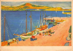 Rare Vintage 1958 Art Postcard The Marina, Ibiza, Spain by Bonny C98