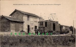 1920 Montagne (Gironde) France PC: Libourne - Puisseguin Tramway at the Depot
