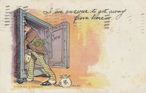 Man robs a safe I am anxious to get away from here , 1908