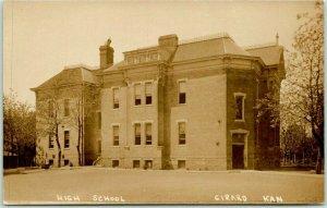 1910s GIRARD, Kansas RPPC Real Photo Postcard HIGH SCHOOL Building View Unused