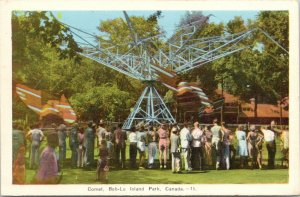Amherstburg ON~Bob-Lo Island Amusement Park~Crowds Lined Up at Comet Ride~c1945