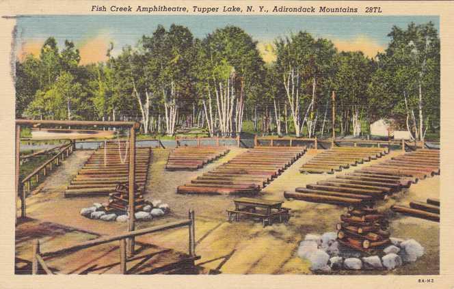 Fish Creek Amphitheatre - Tupper Lake, Adirondacks, New York - pm 1938 - Linen
