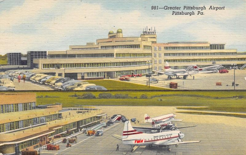 Pittsburgh~Split View Airport~Trans World Airlines~Commercial & Air Force~Linen
