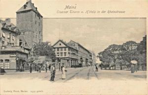 MAINZ GERMANY~EISERNER THURM u. HOTELS in der RHEINSTRASSE-1900s PHOTO POSTCARD
