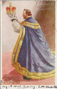 Archbishop Canterbury The Coronation of King Edward VII 1902 TUCK Postcard E53