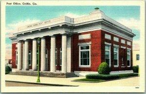 Griffin, Georgia Postcard Post Office Street View Tichnor Linen c1940s Unused