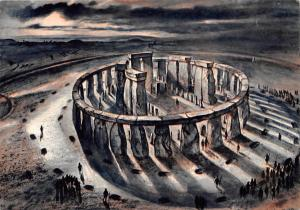 Wiltshire Stonehenge from the East From a Drawing by Alan Sorrell