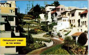 SAN FRANCISCO, CA California  Lombard St CROOKEDEST STREET   c1950s  Postcard