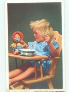 foreign Old Postcard EUROPEAN GIRLS SPOON FEEDS HER DOLL AC2602