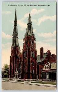 Kansas City Missouri~Presbyterian Church~9th & Harrsion~Parsonage? Houses~c1910