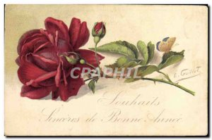 Old Postcard Fantasy Flowers Butterfly