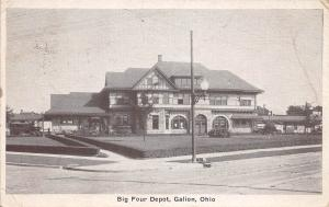 D49/ Galion Ohio Postcard 1931 Big Four Railroad Depot Building 1