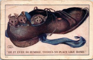 Postcard Comical  Be it ever so humble. There's no place like home 1907 POSTED