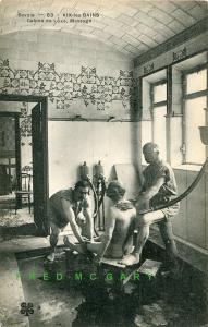1910 Aix-les-Bains (Savoie) France: Nude Man & 2 Masseurs at Deluxe Cabin