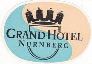 GERMANY NUERNBERG GRAND HOTEL VINTAGE LUGGAGE LABEL