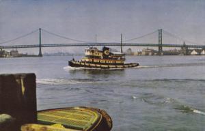 Tug Boat, Delaware River Bridge, Connecting PHILADELPHIA, Pennsylvania and CA...