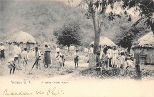Native Cricket Match Antigua West Indies 1907 postcard