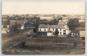 Blackwell OK~KATY RR Car @ Depot~Indiana Hotel~Starbuck's Cafe~Laundry~1914 RPPC