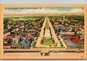 Vtg 1940s Aerial View of Rehoboth Avenue Rehoboth Beach Delaware DE Postcard