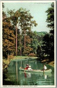 1910s Detroit, Michigan Postcard A Shady Canal, BELLE ISLE Canoe Scene Unused