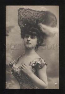 060483 BELLE in Huge HAT Lovely DANCER Vintage PHOTO