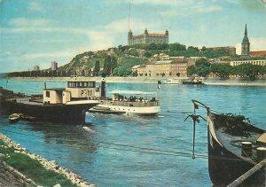 Post card Slovakia Bratislava Danube embankment castle picture