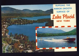 Lake Placid, New York/NY Postcard, Mirror Lake At Foot Of Whiteface Mountain