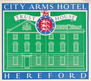 England Hereford City Arms Hotel Vintage Luggage Label lbl0227