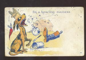 I AM A HOWLING SUCCESS HOUND DOG CLOCK VINTAGE COMIC POSTCARD FAYETTEVILLE