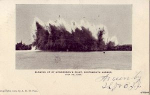 PORTSMOUTH HARBOR, NH BLOWING UP OF HENDERSON'S POINT 1905 PRE-1907