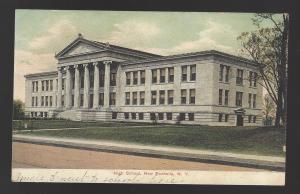 High School, New Rochelle, NY. Litho-Chrome, German-made postcard