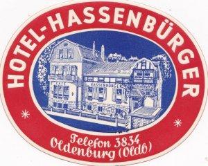 Germany Oldenburg Hotel Hassenbuerger Vintage Luggage Label sk1198