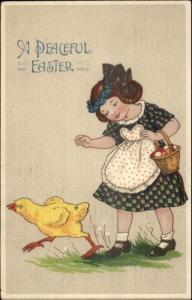 Easter - Little Girl & Chick GREAT COLOR c1910 Postcard