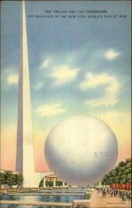 1939 New York World's Fair Trylon & Perisphere Used 7/22/38 Linen Postcard