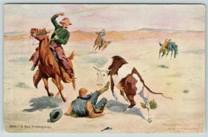 R Farrington Elwell~Western Artist~A Bad Predicament~Boot in Steer Lasso~c1908
