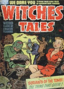 Witches Pagan Tale Girl As Hostage Skeleton 1950s Comic Book Postcard