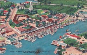 Florida Tarpon Springs Sponge Fleet And Exchange As Seen From Airliner 1959